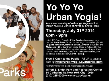 Urban Yogis class and Live Hindustani Music and Dance with NYC Parks in the LES, NYC