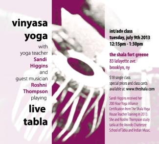 Vinyasa Yoga with Live Tabla at The Shala, Fort Greene, Brooklyn