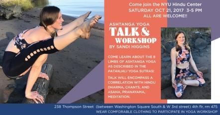 Ashtanga Yoga & the Patanjali Yoga Sutra workshop at NYU Hindu Center, NYC